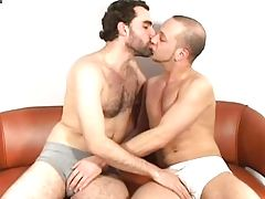 Gays kissing and fucking on the couch