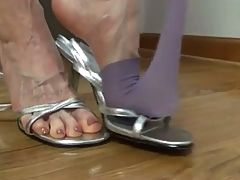 Silver heels nylon foot pov _: amateur stockings voyeur