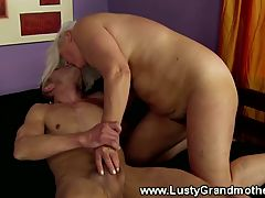 Old mature grandma jumps in cock