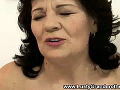 Granny amateur uses dildo and fucks with lucky guy
