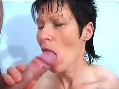 Her mature mouth and pussy make dick cum