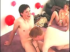 Horny teen sucked off at real party